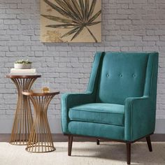 Mid Century Style Rich Turquoise Fabric Accent Chair