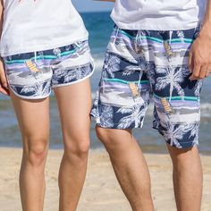 Q Men Women Quick Dry Beach Shorts Brand Clothing 2017 Summer Swimwears Men's Boardshorts Couples Surf Sport Board Shorts One Piece Bikini, Push Up Bikini, Summer Couples, Best Online Shopping Sites, Lace Beach Wedding Dress, Couple Beach, Mens Boardshorts, Matches Fashion, Matching Couples