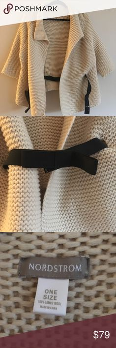 NORDSTROM lambs wool knit sweater No pulls Like new Elastic bow waist band Removable waist band Tan  Large knit Cardigan Sweater Short sleeve Holidays New Years Offers accepted Nordstrom Sweaters Cardigans