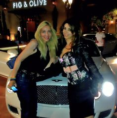 My bestie Nathalie and me at din-din. --love her wheels!