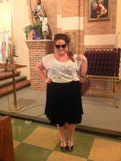 Vintage inspired church look... velvet skirt (part of a skirt/jacket combo) via @lanebryant, tank @lanebryant, lace tee @forever21, bag vintage via Modern Millie Ship in Salem, MA (http://www.modernmillieshop.com/), shoes @ninewest, sunnies & pillbox hat both from @XSRE #plussize #style #fashion