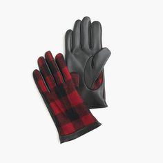 J.Crew Gift Guide: men's leather gloves in buffalo plaid.