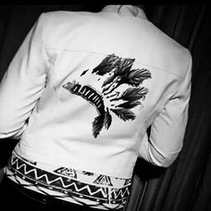 Tatoo Jackets - Hand Painted Leather Jackets @www.etsy.com/shop/rusticqueens  ~ Indian head dress tatoo on a white motorcycle leather jacket.