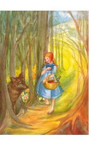 Kunstkarte - Märchen - Rotkäppchen und Wolf - Margret Borstel - Waldow Verlag
