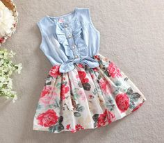 "Cowgirl ""Leyla-Marie"" Bow Knot Toddler Floral Dress -Western Dress-Denim Dress- Birthday Dress - Summer Dress"