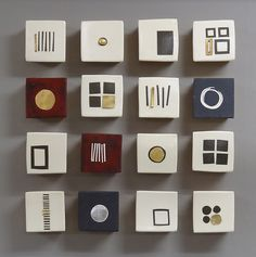 Sixteen Squares: Lori Katz: Ceramic Wall Art | I'd like these inset into an otherwise gray glass tile backsplash just behind the stove...
