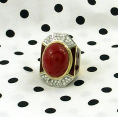 Large Enamel Ox Blood Coral diamond Gold Dome Ring  | From a unique collection of vintage dome rings at https://www.1stdibs.com/jewelry/rings/dome-rings/