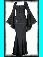 Long Black Vestido feito Gothic Plus Size