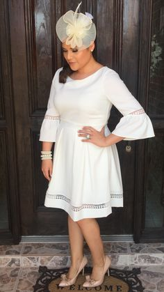 What I wore to my sons baptism / catholic / church / baptism / modest / Eliza j dress / bell sleeves / white / cream / nude bow heels / betsey Johnson / pearls / fascinator outfit ideas / beige / mommy outfit / style / classic / outfit / ideas /