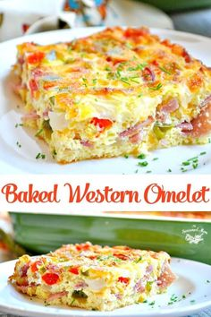 Baked Western Omelet - This is the best breakfast casserole! Make this baked western omelet for Christmas morning! Baked Western Omelet - This is the best breakfast casserole! Make this baked western omelet for Christmas morning! Breakfast Appetizers, Breakfast Dishes, Breakfast Time, Egg Dishes For Brunch, Breakfast Egg Bake, Breakfast Quiche, Breakfast Smoothies, Breakfast For Dinner, Breakfast Ideas With Eggs