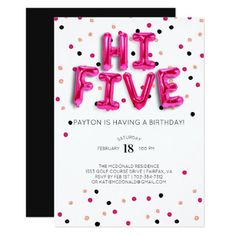 65 best 15th birthday party invitations images on pinterest in 2018 pink balloons hi five 5th birthday card 15th birthday card birthday birthday party filmwisefo