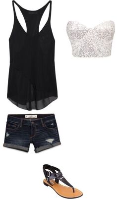 Black, sparkly, summer outfit.
