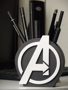 Avengers Logo Avengers Gift Desk Organizer GiftAvengers | Etsy Avengers Room, Marvel Room, Logo Avengers, We All Mad Here, Deco Cool, Marvel Clothes, 3d Prints, Wood Gifts, Wood Toys