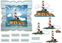The Lighthouse 6x6 Card With Decoupage