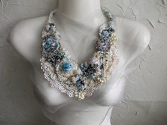 Winter Sky...Bohemian Crochet and Hand Beaded by AccessoriesLilit