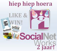 Hiep hiep hoera! SocialNet Works is 2 jaar!   Like dit bericht en maak kans op een leuk prijzenpakket: - Het boek 'Get social in business' van Jeanet Bathhoorn - Het boek 'Facebook' van Ben Mezrich - PLUS een bioscoopbon t.w.v. €10,-  De winnaar wordt 14 juni bekend gemaakt.