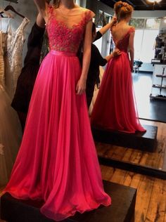 A-Line Scoop Floor Length Red Prom/Evening Dress with Lace,chiffon Prom Dress,Backless prom dress