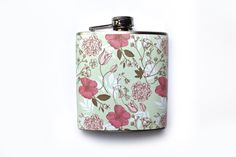 Mint and Pink Floral Flask
