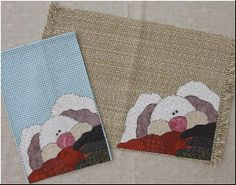 Peeking Bunny Towel and Placemat Pattern by The Wooden Bear at KayeWood.com. Applique this Peeking Bunny onto any towel or placemat for instant holiday decorations!  http://www.kayewood.com/Peeking-Bunny-Towel-and-Placemat-Pattern-WB-PEBU.htm $8.00