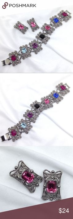 """🆕Vintage Silver & Colored Rhinestone Jewelry Set A gorgeous bracelet and earrings set from the Big 80s when Romantic Baroque style was the rage! A 7 1/4"""" x 1"""" bracelet with big multicolored glass foil back rhinestones and matching 1"""" long pink rhinestone earrings! Definitely from a better department store, and in excellent vintage condition! From an Estate collection. Vintage Jewelry"""