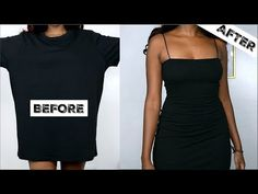 diy ropa DIY Little Black Dress - diy Revamp Clothes, Diy Summer Clothes, Diy Clothes Refashion, How To Make Clothes, Sewing Clothes, Custom Clothes, Refashioned Clothes, Shirt Refashion, Umgestaltete Shirts