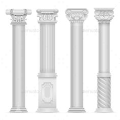 Realistic White Antique Roman Column Vector Set by MicrovOne Roman Columns, Stone Columns, Gate Design, Window Design, Decorative Pillars, Pillar Design, Wooden Main Door Design, Architecture Concept Drawings, Beautiful House Plans