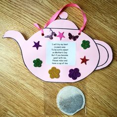 Nice idea for Mother's Day. Tea pot complete with tea bag and poem.