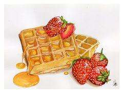 strawberries and honey waffles Dessert Illustration, Japon Illustration, Watercolor Food, Watercolor Paintings, Original Paintings, Waffles, Cute Food Art, Food Painting, House Painting