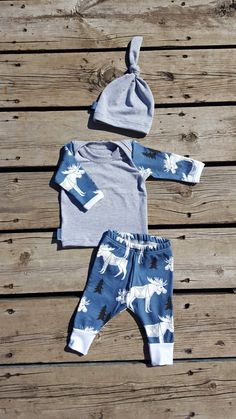 Moose on the Loose! Newborn Coming Home Outfit, Slate Blue and Light Gray, Leggings, Shirt, and Knot Hat, Size Newborn by brambleandbough on Etsy