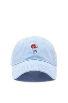 A woven baseball hat featuring a front rose embroidery 300f7f90178c