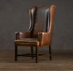 660 each belfort wingback upholstered dining chair for Leather wingback dining chair