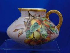 """Jean Pouyat (JP) Limoges Peach Motif Pitcher (Signed """"V.P.""""/Dated 1904)"""