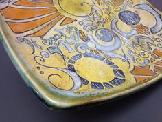 Hand Carved and Painted Porcelain Plate w/ Sun Design by Lithology