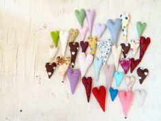 50pcs Mix Fabric Hearts Embroidered Hearts | Levchenko Doll