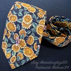 Vintage Tango Max Raab Honeybee Bee Sunflower Tie 100% Cotton Classic Career USA #Tango #Tie