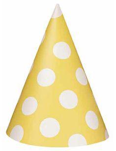 SPRING YELLOW POLKA DOT PARTY HATS