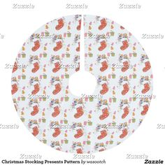 Christmas Stocking Presents Pattern Brushed Polyester Tree Skirt