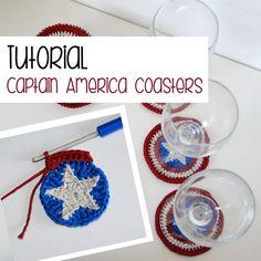 Tutorial: captain america crochet coaster by Ahookamigurumi