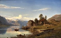 "From Rognaldsvåg in Kinn"", 1867 By Amaldus Clarin Nielsen (Norwegian, 1838-1932) oil on canvas; 40 x 63 cm; (15.7 x 24.8 in. Place of creation: Kinn, Sogn og Fjordane county, Norway"