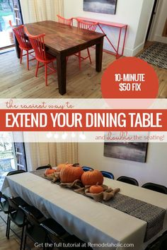VIDEO: How do you extend a dining table that doesn't have a leaf? This easy DIY plywood hack will give you a bigger dining table with added serving space and seating just in time for Thanksgiving dinner, and it will only take 10 minutes and about $50. It's so easy to make your own dining table extender! #remodelaholic #thanksgivinghack #diningtable Dining Table With Leaf, Diy Dining Room Table, Make A Table, Extendable Dining Table, Dining Rooms, Thanksgiving Diy, Thanksgiving Table Settings, Diy Design, Diner Table