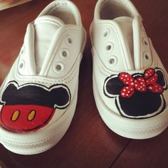 Infant sz 4 Mickey & Minnie Mouse Upcycled Keds