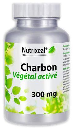 Charbon végétal activé, produit à partir de coques de noix de coco. Propriétés assainissantes et adsorbantes. Fabrication française, laboratoire Nutrixeal.