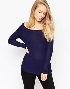 Image 1 ofASOS Top with Off Shoulder Detail in Slouchy Fabric