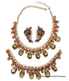 Vintage Alice Caviness Green Glass Drop Rhinestone Necklace Bracelet Earrings #AliceCaviness #drop