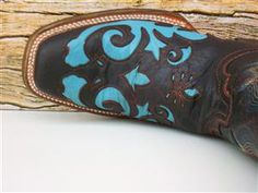 Corral Womens Chocolate Brown & Turquoise Cowgirl Boots