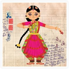 © 2013 Radha Ramachandran (See Maithili dance the Bharatanatyam here . Art Painting, Folk Art, India Art, Madhubani Art, Dance Art, Culture Art, Dancing Drawings, Art, Bharatanatyam