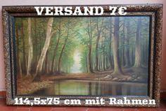 Schönes Gemälde mit einer realistischen Landschaftsmalerei eines idyllisch gelegenen Waldsees. Das...,Ölgemälde Rahmen Natur Waldsee Landschaft Wald See Gemälde Ölbild in Sachsen-Anhalt - Gommern
