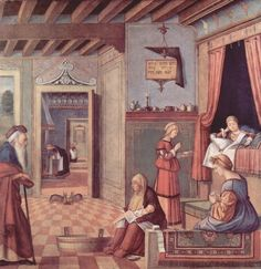 Vittore Carpaccio.  Zyklus »Albanesi«, Szene: Maria Geburt. 1504-1508, Öl auf Leinwand, 128 × 137 cm. Venedig, Museo Correr. Italien. Renaissance.  KO 02567