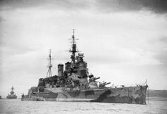 15 in battlecruiser HMS Renown, with battleship USS Texas astern, pictured off Iceland in April 1942.  Renown was much more significantly modernised than her sister Repulse before WW2; most notably being given an entirely new bridge structure - compare with Repulse photos elsewhere.  Unlike her sister, Renown survived the war.