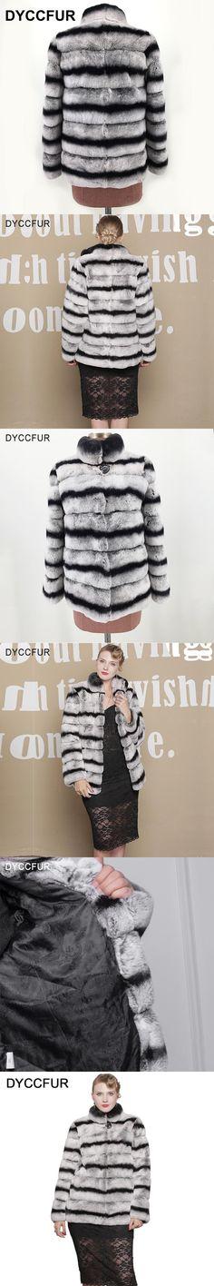DYCCFUR 70cm Real Rex Rabbit Fur Coat Color Chinchilla Fur Coat Women Winter Rabbit Fur Coats Warm Stand Collar coats jackets